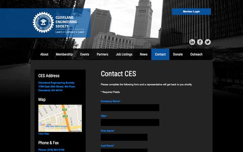 Screenshot of Contact Page cesnet.org - Contact - captured Jan. 28, 2016