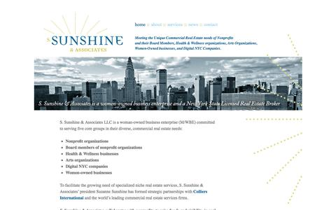 Screenshot of Home Page sunshineassoc.com - sunshine | Meeting the Unique Commercial Real Estate Needs of Nonprofits, Wellness, and Digital NYC Companies - captured Oct. 7, 2014