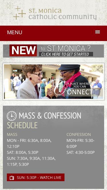 Screenshot of Home Page  stmonica.net - St Monica Catholic Community