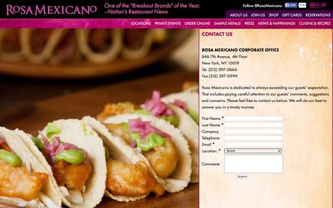 Screenshot of Contact Page rosamexicano.com - Rosa Mexicano - captured Nov. 26, 2015