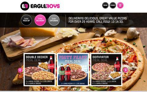 Screenshot of Home Page eagleboys.com.au - Order Pizza Online - Pizza Delivery - Eagle Boys - captured July 18, 2015