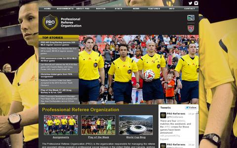 Screenshot of Home Page proreferees.com - PRO - Professional Referee Organization - captured July 11, 2014