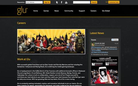 Screenshot of Jobs Page glu.com - Glu | The Leader in 3D Freemium Mobile Gaming - captured June 16, 2015