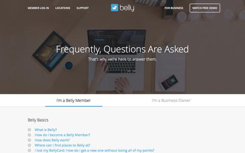 Screenshot of Contact Page Support Page bellycard.com - Support - Belly - captured Jan. 15, 2016