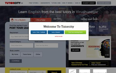 Screenshot of Home Page tutorcity.in - Tutors in India | Find Online Home Tutors & Private Tuition Teachers at TutorCity - captured Dec. 3, 2016