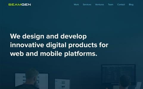 Screenshot of Home Page seamgen.com - Top Application Development Companies San Diego | Web Design Companies San Diego | Mobile Application Development San Diego | Web Application Development San Diego - captured Sept. 22, 2015
