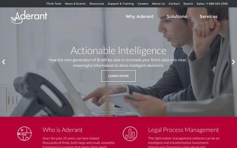Screenshot of Home Page aderant.com - Legal Software - Legal Solutions - Aderant - captured Dec. 23, 2015