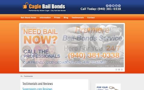 Screenshot of Testimonials Page caglebailbond.com - Testimonials | Cagle Bail Bonds - captured Oct. 1, 2014