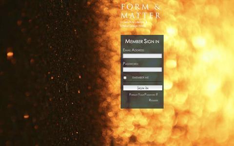 Screenshot of Login Page formandmatter.com - Login | FORM & MATTER - captured Feb. 10, 2016