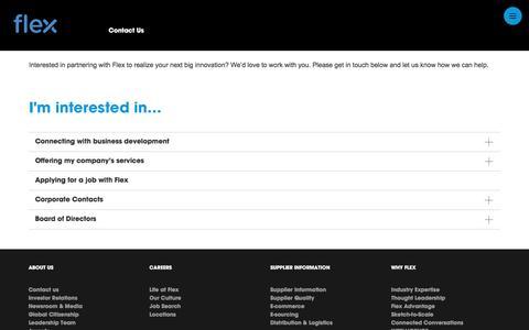 Screenshot of Contact Page flextronics.com - Contact Us | Flex - captured Sept. 1, 2016