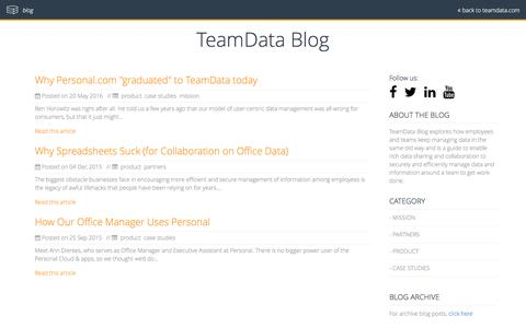 Screenshot of Blog teamdata.com - TeamData Blog | Changing the world one data point at a time - captured June 30, 2016