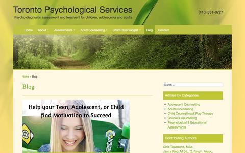 Screenshot of Blog torontopsychologicalservices.com - Psychology and Mental Health Posts - Cognitive Psychology - captured Jan. 13, 2016