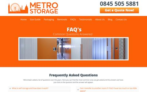 Screenshot of FAQ Page metro-storage.co.uk - Secure Self Storage FAQ - captured Oct. 27, 2014