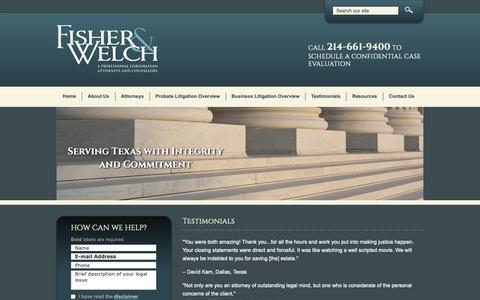 Screenshot of Testimonials Page fisherwelch.com - Testimonials | Fisher & Welch | Dallas, Texas - captured Oct. 10, 2018