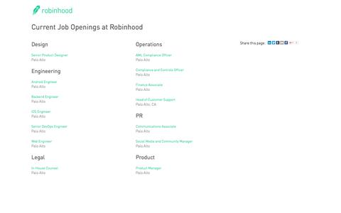 Screenshot of Jobs Page greenhouse.io - Jobs at Robinhood - captured May 26, 2016