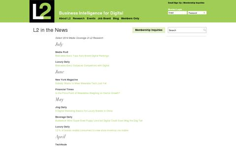 Screenshot of Press Page l2thinktank.com - L2 in the News   L2: Business Intelligence for Digital - captured July 18, 2014