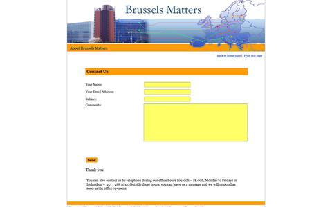 Screenshot of Contact Page brusselsmatters.eu - Brussels Matters - Contact Us - captured Oct. 5, 2014
