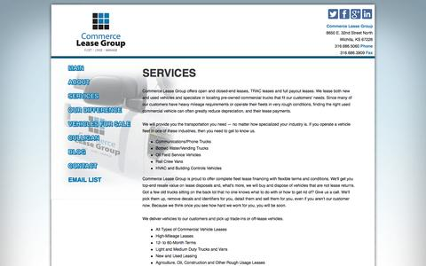 Screenshot of Services Page commerceleasegroup.com - Commercial Fleet Leasing Services for Commercial Vehicles - captured Sept. 30, 2014