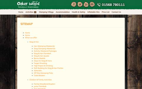 Screenshot of Site Map Page oakerwoodleisure.co.uk - Outdoor Activity Site- Hereford | Oaker Wood Leisure - captured Oct. 19, 2018