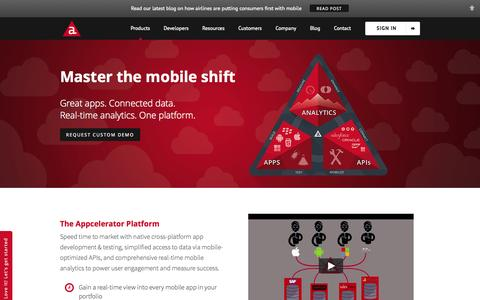 Screenshot of Products Page appcelerator.com - Enterprise Mobile Application Development Platform | The Appcelerator Platform - captured Oct. 10, 2014