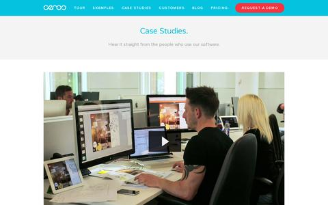 Screenshot of Case Studies Page ceros.com - Stories — Digital Catalog Software & Content Marketing Software | Ceros - captured July 18, 2014