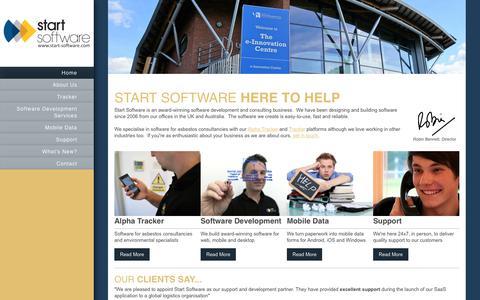 Screenshot of Home Page start-software.com - Start Software - Software Development Services - Home - captured Sept. 21, 2018