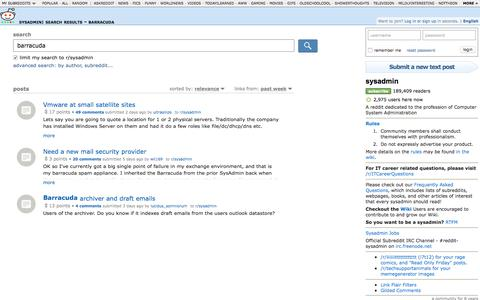 sysadmin: search results - barracuda
