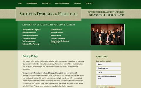 Screenshot of Privacy Page sdfnvlaw.com - Privacy Policy | Solomon Dwiggins & Freer, Ltd. | Las Vegas, Nevada - captured Oct. 26, 2014