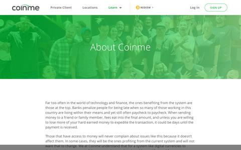 Screenshot of About Page coinme.com - About Us | Bitcoin ATM for Cryptocurrency Digital Assets - captured July 12, 2019