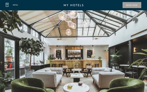 Screenshot of Home Page myhotels.com - My Hotels UK   Boutique Hotels Central London   Brighton - captured Sept. 21, 2018
