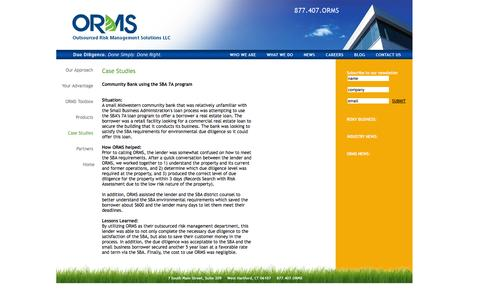 Screenshot of Case Studies Page orms.com - ORMS: Environmental Risk Management/Due Diligence/Consulting - captured Oct. 6, 2014