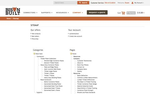 Screenshot of Site Map Page bisonbuilt.com - Sitemap - Bison Built - captured July 29, 2016