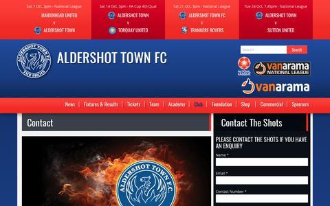 Screenshot of Contact Page theshots.co.uk - Contact Aldershot Town Football Club | Aldershot Town FC - captured Oct. 7, 2017