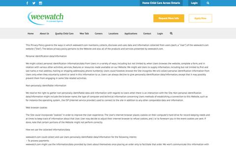 Screenshot of Privacy Page weewatch.com - Privacy Policy - Wee Watch - captured Oct. 20, 2018