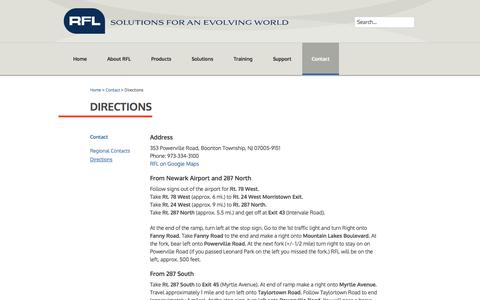 Screenshot of Maps & Directions Page rflelect.com - Directions - RFL Electronics Inc - captured Oct. 26, 2014