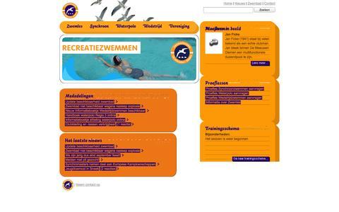 Screenshot of Home Page demeeuwen.nl - Zwemvereniging De Meeuwen Diemen - captured Oct. 5, 2014