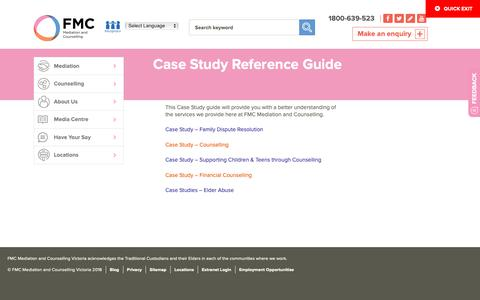 Screenshot of Case Studies Page mediation.com.au - Case Study Reference Guide - FMC Mediation and Counselling - captured Oct. 10, 2018