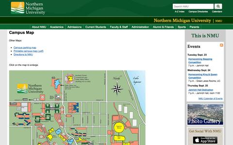 Screenshot of Maps & Directions Page nmu.edu - Campus Map | Northern Michigan University - captured Sept. 23, 2014