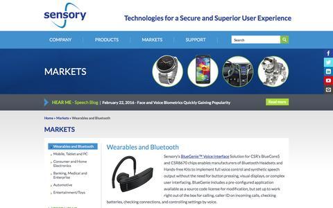 Screenshot of sensory.com - Wearables and Bluetooth | Sensory - captured March 19, 2016