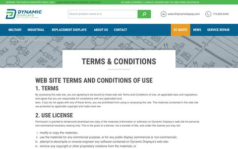 Screenshot of Terms Page dynamicdisplay.com - Terms & Conditions - Dynamic Displays - captured Oct. 13, 2017