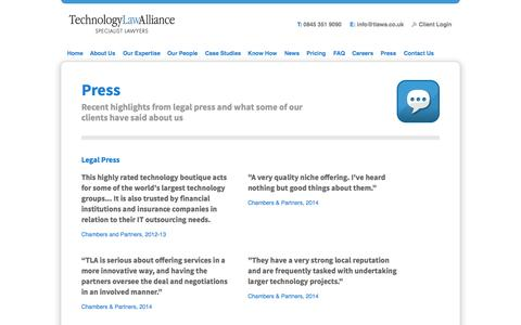 Screenshot of Press Page technologylawalliance.co.uk - Technology Law Alliance: IT Law, E-commerce Law & Outsourcing Law Specialists 	 	 	 		Technology Law Alliance: IT Law, E-commerce Law & Outsourcing Law Specialists - captured Oct. 1, 2014