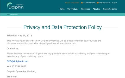 Screenshot of Privacy Page dolphind.com - Dolphin Dynamics Privacy Policy - captured Dec. 19, 2018