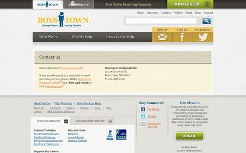 Screenshot of Contact Page boystown.org - Boys Town - Saving Children, Healing Families | Contact - captured Sept. 19, 2014