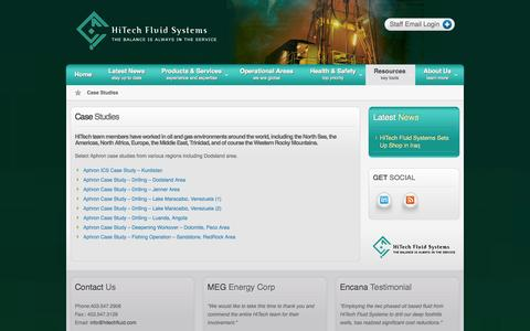 Screenshot of Case Studies Page hitechfluid.com - Case Studies | HiTech Fluid Systems - captured Oct. 2, 2014