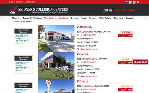 Screenshot of Locations Page seidnerscc.com - Yelp Reviews | Seidner's - captured Oct. 26, 2017