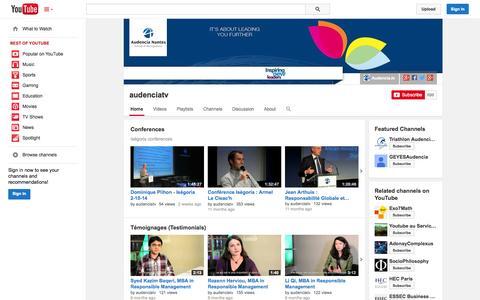 Screenshot of YouTube Page youtube.com - audenciatv  - YouTube - captured Oct. 23, 2014