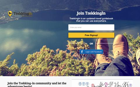 Screenshot of Signup Page trekkingin.com - Trekking In - Trek like a local. - captured Aug. 15, 2015