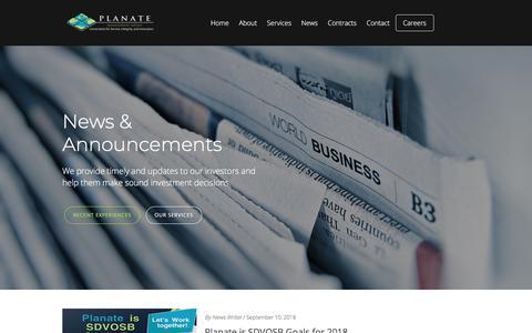 Screenshot of Press Page planate.net - News - Planate - captured Sept. 25, 2018