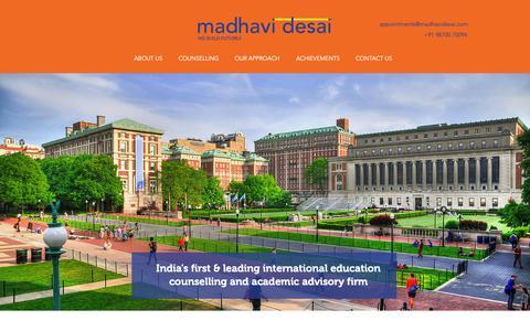Screenshot of Home Page madhavidesai.com - Best Overseas Education Consultant in India   Madhavi Desai Consulting - captured Sept. 30, 2018