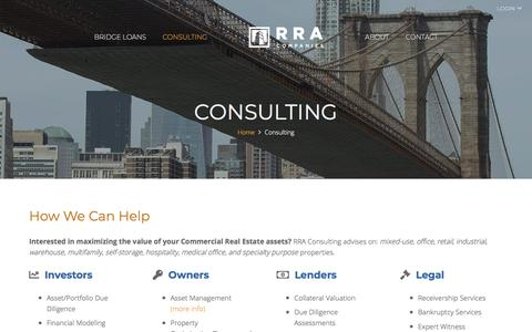 Screenshot of Services Page rracompanies.com - Looking for Help with Your Real Estate Portfolio? - Direct Commercial Real Estate Bridge Loans | RRA Companies - captured Sept. 20, 2018